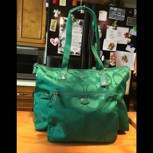 Coach Green Sig C Nylon Weekender Tote & Pouch